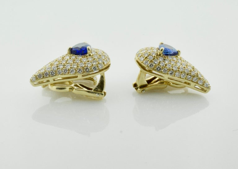 Sabbadini Unique Sapphire and Diamond Earrings in 18k Sap = 3.00 Dia = 7.00 cts. For Sale 1