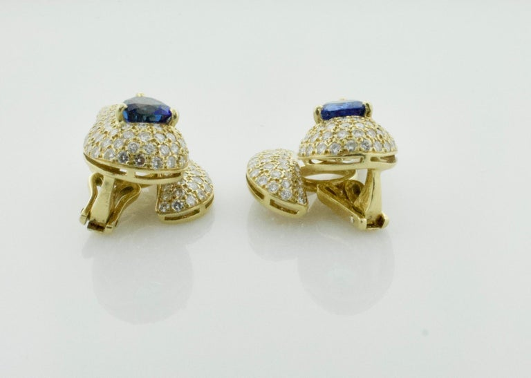 Sabbadini Unique Sapphire and Diamond Earrings in 18k Sap = 3.00 Dia = 7.00 cts. For Sale 2