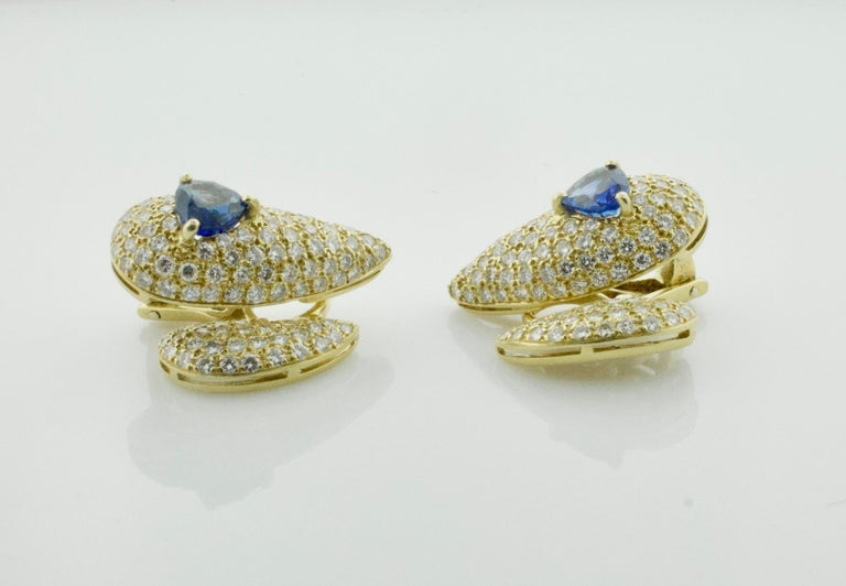 Sabbadini Unique Sapphire and Diamond Earrings in 18k Sap = 3.00 Dia = 7.00 cts. For Sale 3