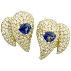 Sabbadini Unique Sapphire and Diamond Earrings in 18k Sap = 3.00 Dia = 7.00 cts.