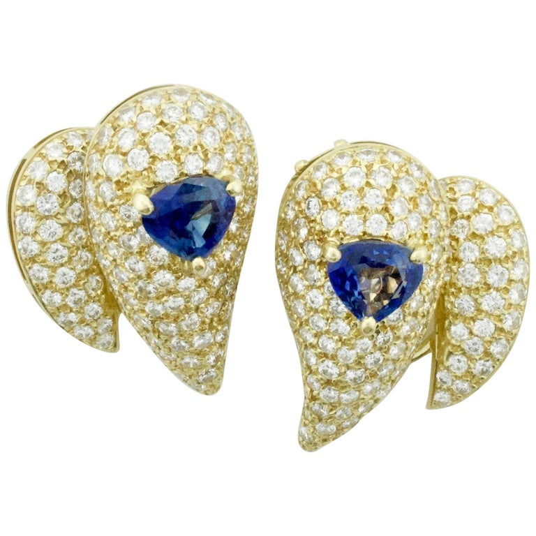 Sabbadini Unique Sapphire and Diamond Earrings in 18k Sap = 3.00 Dia = 7.00 cts. For Sale