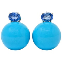 Sabbadini Vintage Turquoise Sapphire 18 Karat White Gold Ball Earrings