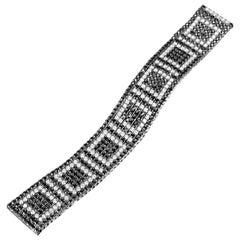 Sabbadini White Gold, Diamond and Black Spinel Contemporary Bracelet