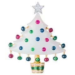Sabbadini Yellow Gold Christmas Tree Brooch with White Jade & Diamonds & Rubies