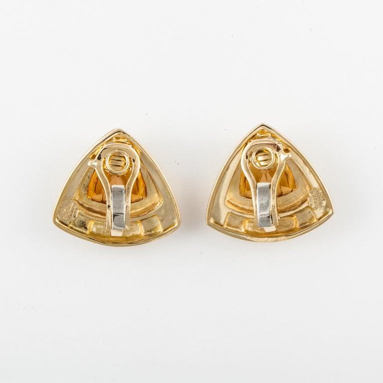 Women's or Men's Sabbadini Yellow Gold Citrine Earrings For Sale