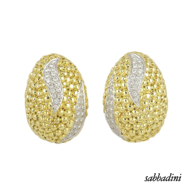 Round Cut Sabbadini Yellow Gold Diamond Necklace, Earrings and Bracelet Suite For Sale