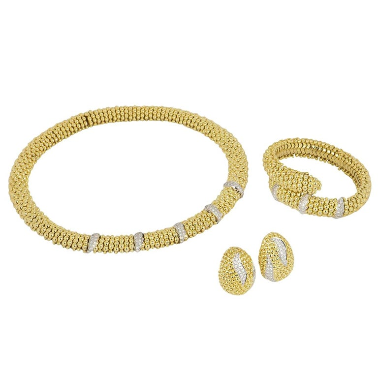 Sabbadini Yellow Gold Diamond Necklace, Earrings and Bracelet Suite For Sale