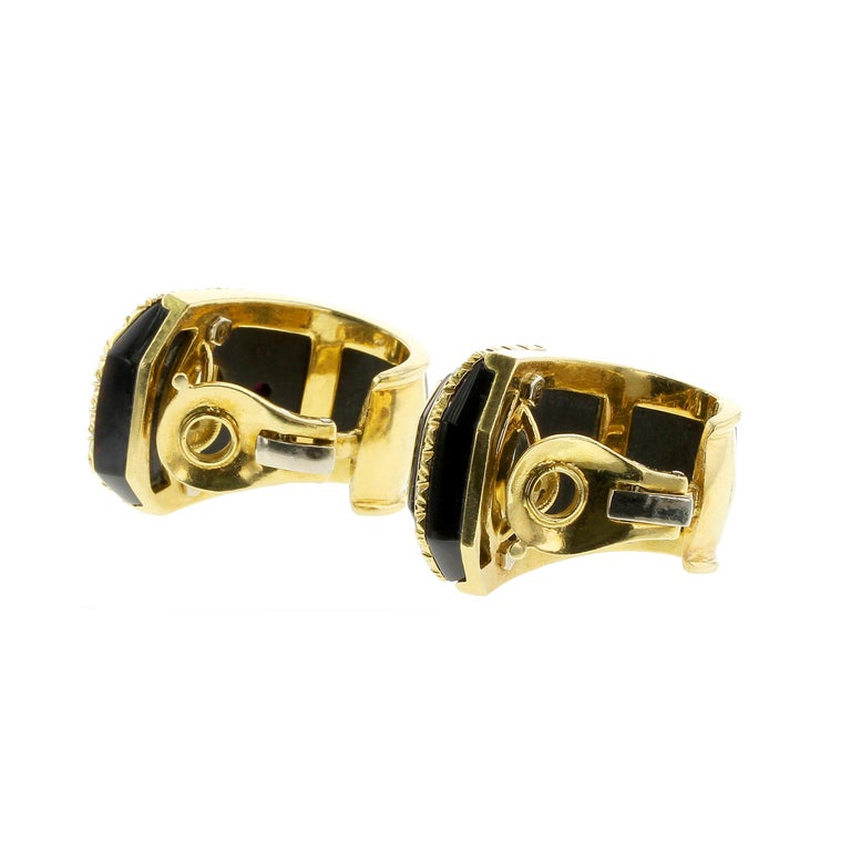 Retro Sabbadini Yellow Sapphire, Black Onyx and Diamond Yellow Gold Earrings For Sale