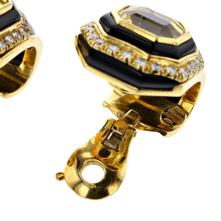 Asscher Cut Sabbadini Yellow Sapphire, Black Onyx and Diamond Yellow Gold Earrings For Sale
