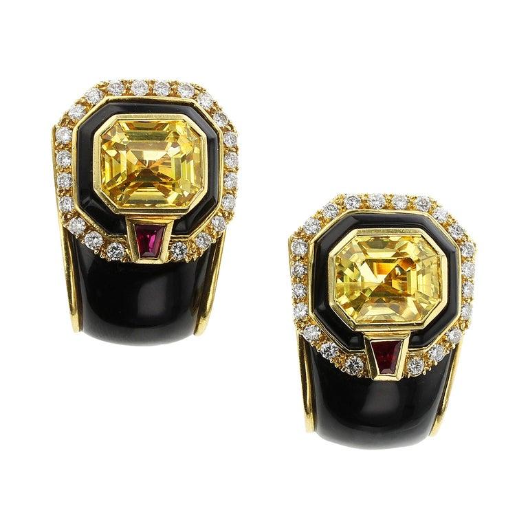 Sabbadini Yellow Sapphire, Black Onyx and Diamond Yellow Gold Earrings For Sale