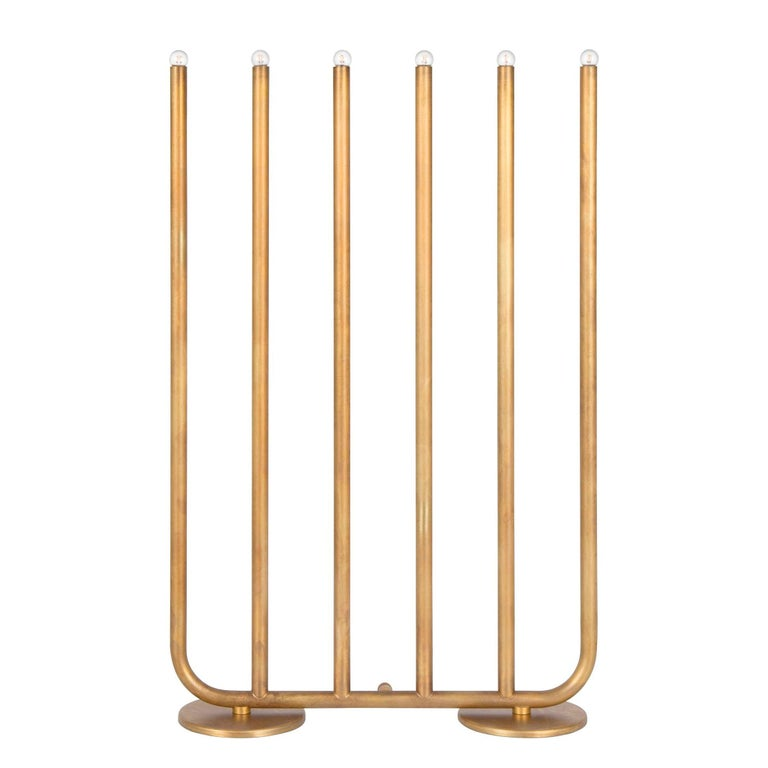 Sabina Grubbeson December 6-Arm Raw Brass by Konsthantverk Tyringe For Sale
