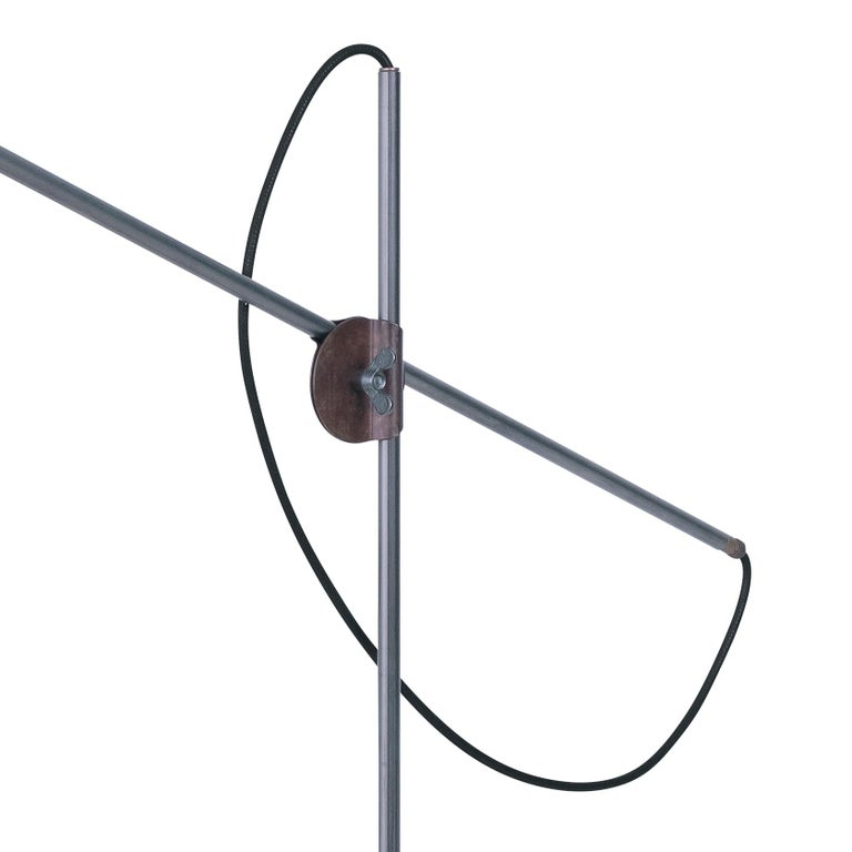 Sabina Grubbeson Kusk Floor Iron Black Leather Floor Lamp by Konsthantverk In New Condition For Sale In Barcelona, Barcelona