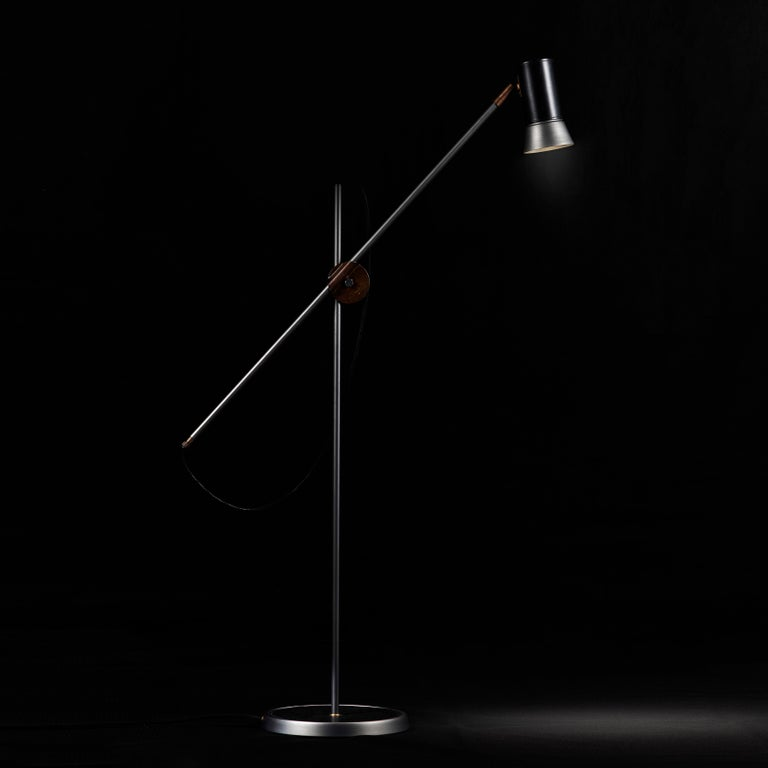 Contemporary Sabina Grubbeson Kusk Floor Iron Black Leather Floor Lamp by Konsthantverk For Sale