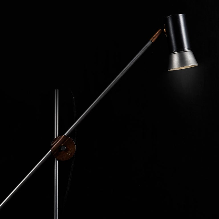 Sabina Grubbeson Kusk Floor Iron Black Leather Floor Lamp by Konsthantverk For Sale 1
