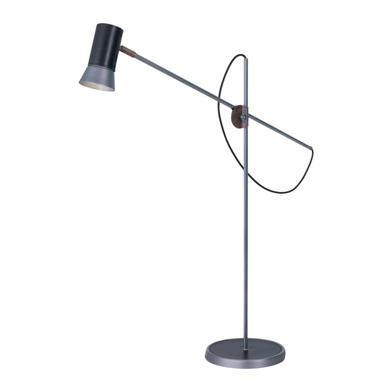 Sabina Grubbeson Kusk Floor Iron Black Leather Floor Lamp by Konsthantverk For Sale
