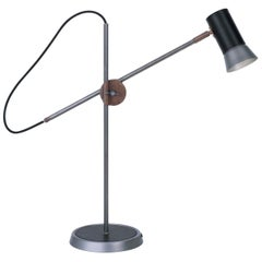 Sabina Grubbeson Kusk Table Iron Black Leather Floor Lamp by Konsthantverk