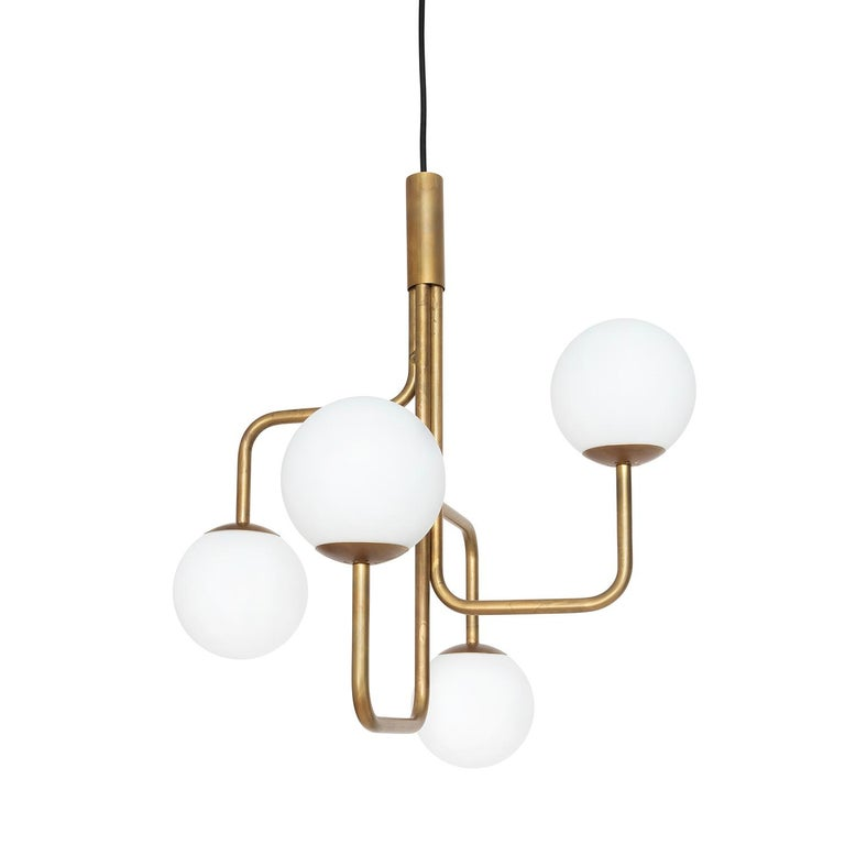 Sabina Grubbeson Strapatz Glob Brass Ceiling Lamp by Konsthantverk In New Condition For Sale In Barcelona, Barcelona
