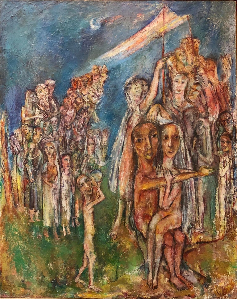 Abstract Procession Jewish Wedding Chuppah Oil Painting Modernist Judaica - Brown Abstract Painting by Sabina Teichman