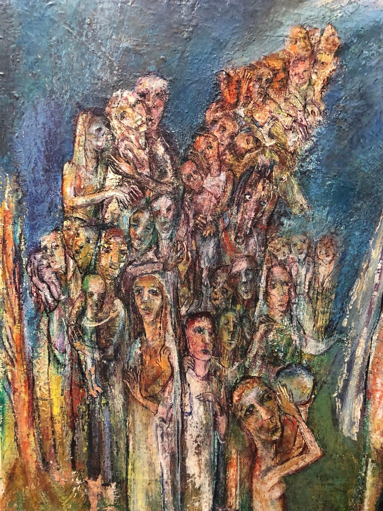 Abstract Procession Jewish Wedding Chuppah Oil Painting Modernist Judaica For Sale 1
