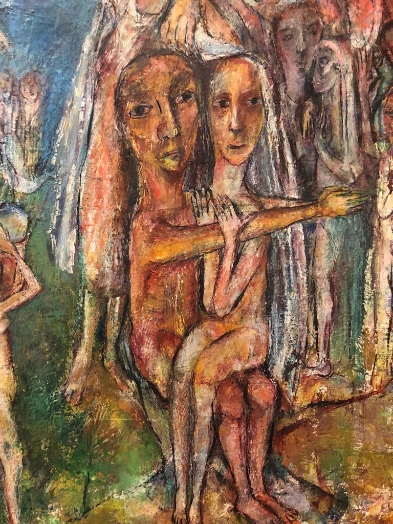 Abstract Procession Jewish Wedding Chuppah Oil Painting Modernist Judaica For Sale 2