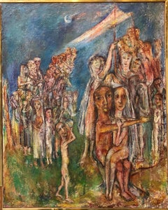 Abstract Procession Jewish Wedding Chuppah Oil Painting Modernist Judaica
