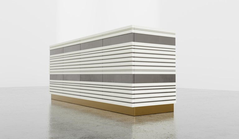 American Sabine Credenza, Modern Linear Body and Silver Leafed Inlay with Metal Base For Sale