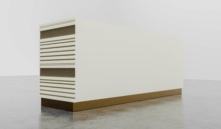 Painted Sabine Credenza, Modern Linear Body and Silver Leafed Inlay with Metal Base For Sale