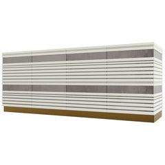 Sabine Credenza, Modern Linear Body and Silver Leafed Inlay with Metal Base