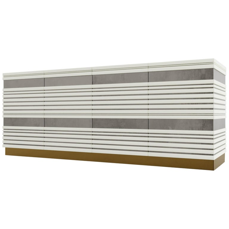 Sabine Credenza, Modern Linear Body and Silver Leafed Inlay with Metal Base For Sale