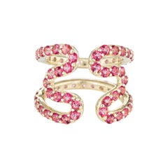 Sabine Getty Pink Topaz Wiggly Ring Estate 18 Karat Yellow Gold Wave Jewelry