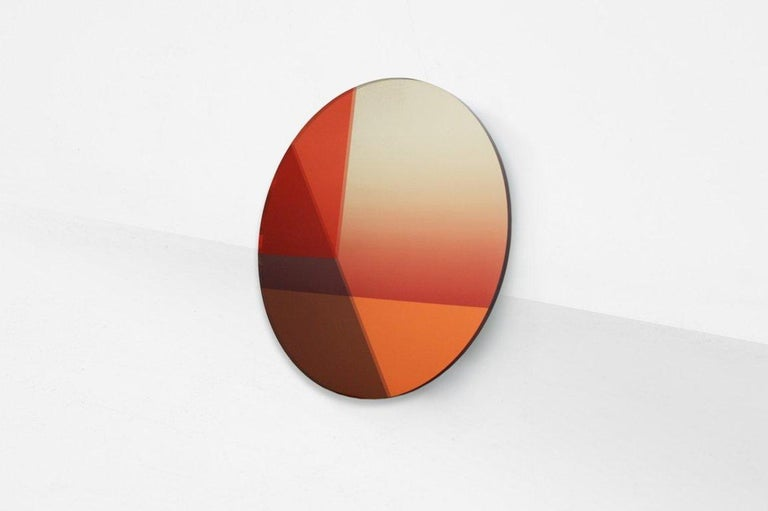"Sabine Marcelis & Brit Van Nerven  Mirror, model ""Big Round"" From the series ""Seeing Glass"" Manufactured by Sabine Marcelis & Brit Van Nerven Rotterdam, 2015 Mirror, glass, colourfoil metal mounting system  Seeing Glass is a series of glass objects."
