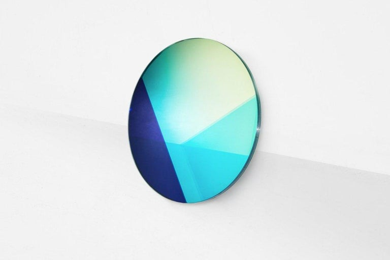 """Sabine Marcelis & Brit Van Nerven  Mirror, model """"Big Round"""" From the series """"Seeing Glass"""" Manufactured by Sabine Marcelis & Brit Van Nerven Rotterdam, 2015 Mirror, glass, colourfoil metal mounting system  Seeing Glass is a series of glass"""