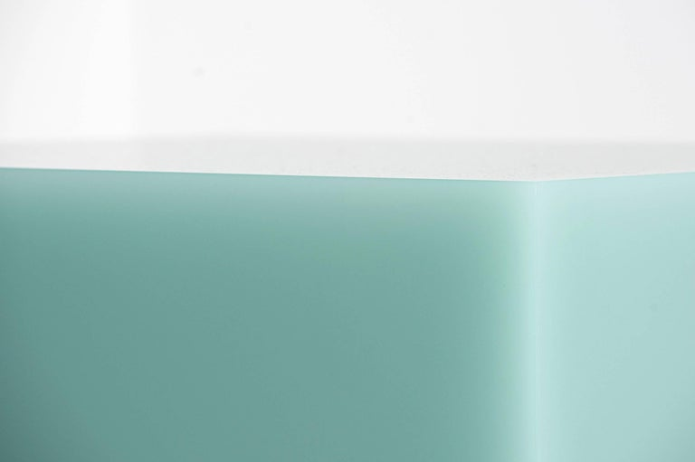 """Sabine Marcelis   Freestanding table in mint From the series """"Candy Cubes"""" Manufactured by Sabine Marcelis Produced for Side Gallery Rotterdam, The Netherlands, 2017 High polished single cast resin.  Measurements 50 cm x 50 cm x 50h"""
