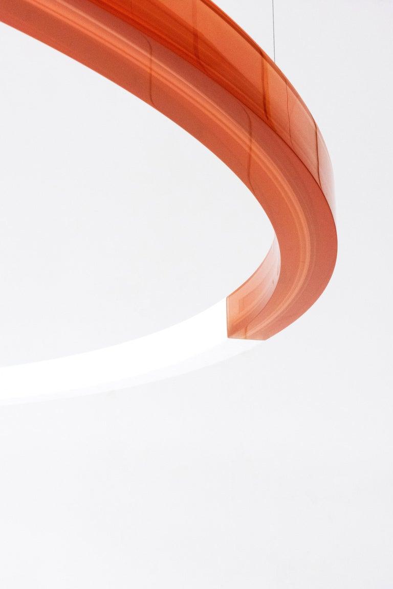 Sabine Marcelis Contemporary Amber Red Resin Circular Pendant Lamp Filter Series For Sale 1