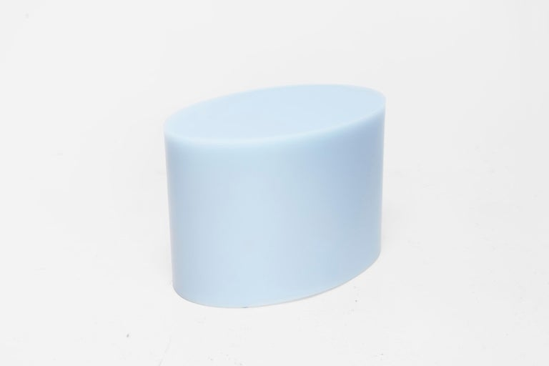 Dutch Sabine Marcelis Oval Side Table, Light Blue Cast Resin, Rotterdam, 2019 For Sale