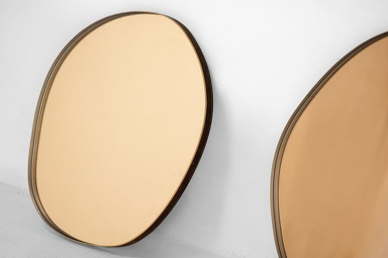 "Sabine Marcelis & Brit Van Nerven  Wall Mirror model ""Copper"" from the series ""Seeing glass"" Produced for Side Gallery Rotterdam, 2016 Mirror, glass, colourfoil metal mounting system Bronze round wall mirror.  Other finishes available, Rosé, Green,"