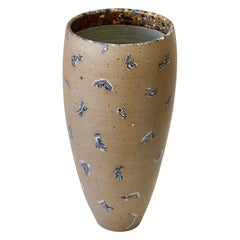 Sabine Moshammer Tall German Art Stoneware Vase or Umbrella Stand, circa 1990s