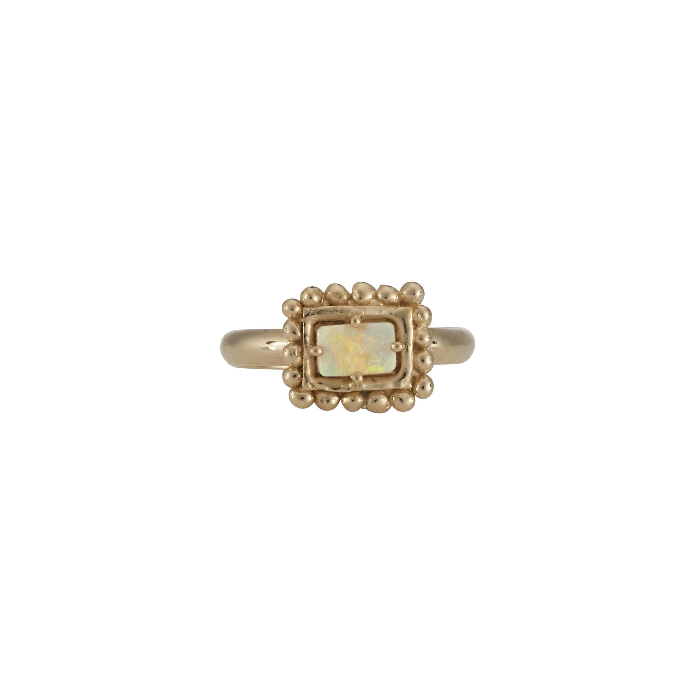 Sabine Ring with Australian Opal, 18k Yellow Gold