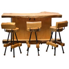 Sabino Burl Wood Bar and Stool Set