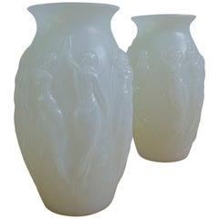 Sabino Glass Art Deco Vases Opalescent Dancing Nudes 1930s, Pair