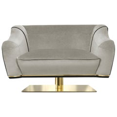 Saboteur Swivel Single Sofa in Leather and Velvet