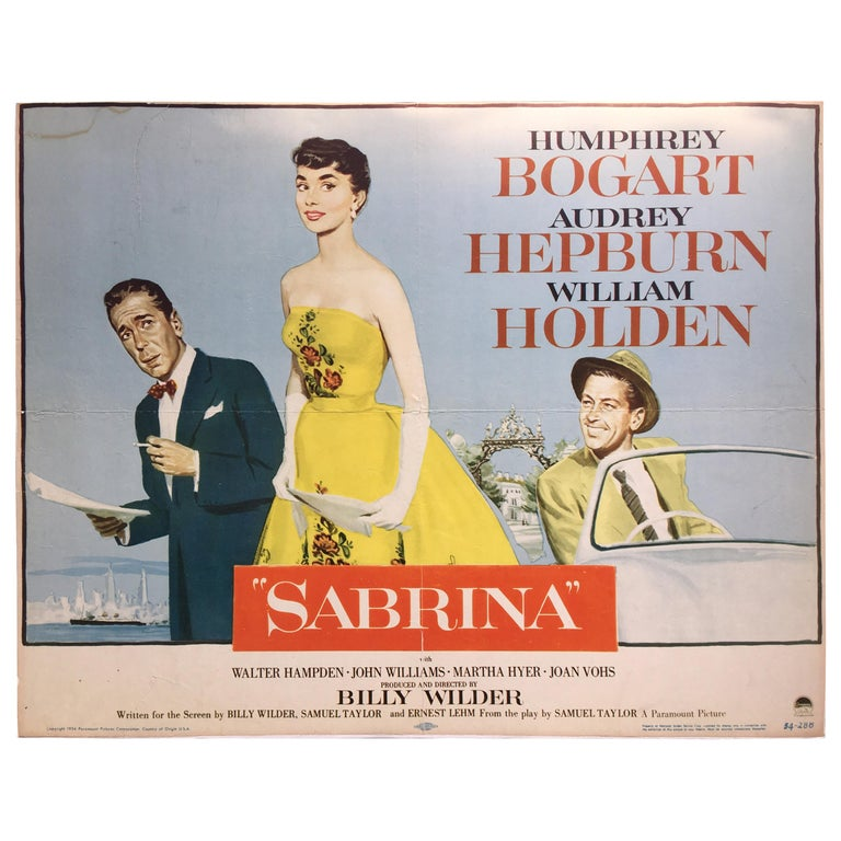 Sabrina Movie Poster, 1955 For Sale