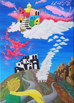 The Little Prince arrives in Procida - Original Painting by S. Pugliese - 2019