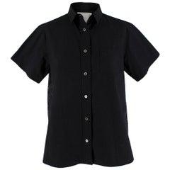 Sacai Black Cotton Shirt with Embroidered Back JPN 2
