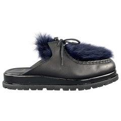 SACAI Black Leather & Blue Fur Slip On Loafer Slides