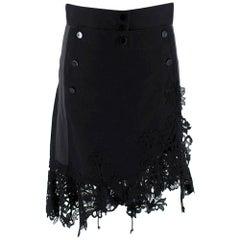 Sacai Black Sailor Button Asymmetric Lace Applique Skirt 2