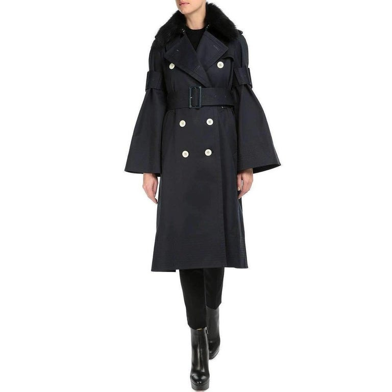 Black SACAI Blue Double Breasted Cotton-twill Trench Coat For Sale