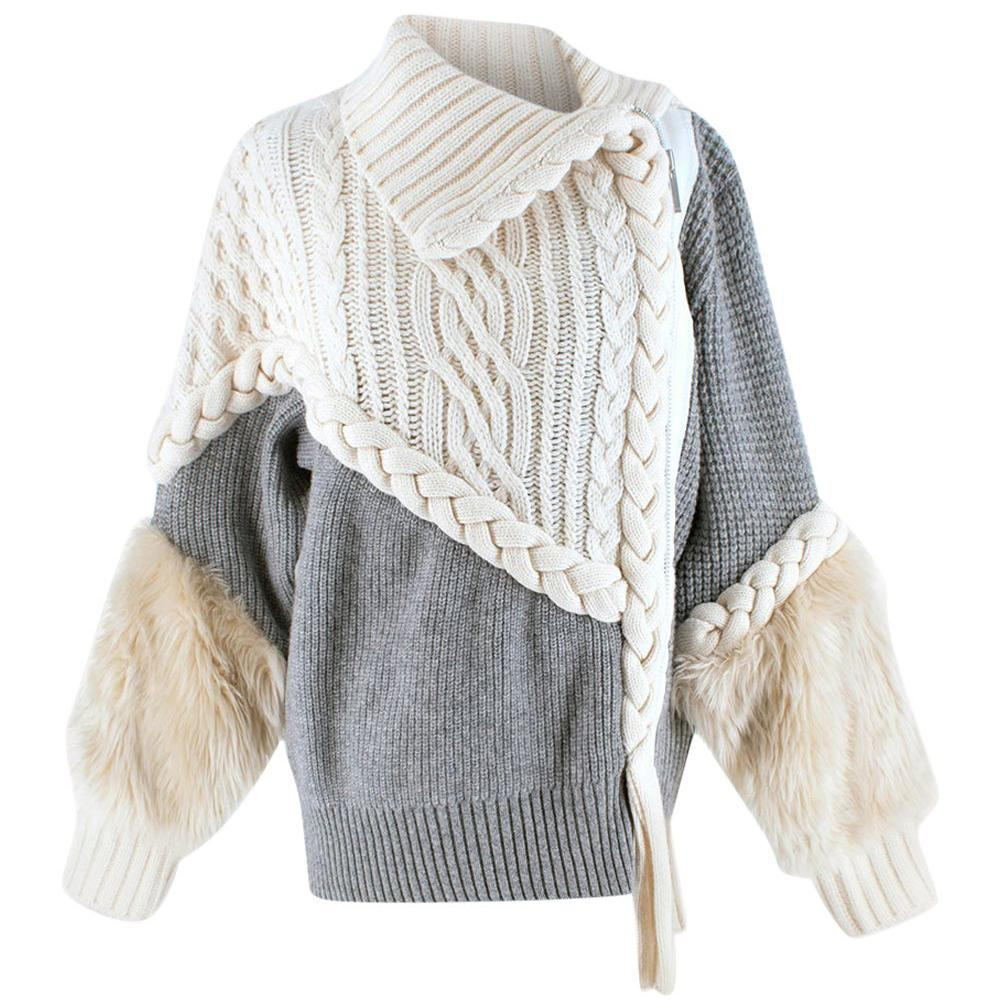 Sacai Braided Cable Knit Faux-fur-cuff Jacket In 159 Owh Gre 2 - Size XXS
