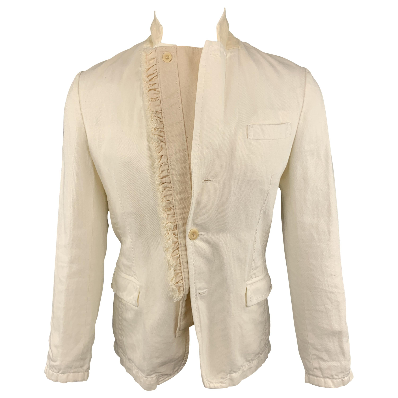 SACAI Chest Size S Off White Cotton / Linen Notch Lapel Panel Ruffle Sport Coat