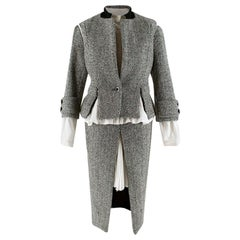 Sacai Grey Wool Chevron Tweed Layered Jacket & Skirt - Size Medium - 2